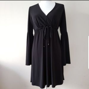 MICHAEL KORS Black Long Bell Sleeve Dress.